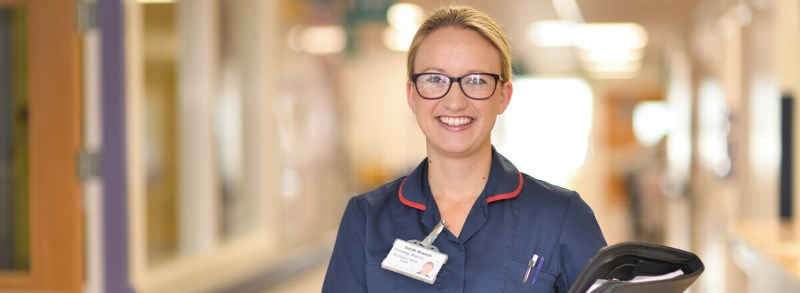 Oncology Matron, Sarah Branch, smiling at the camera