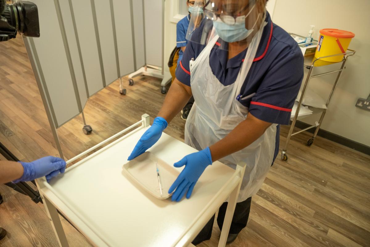 Nurse at vaccine hub