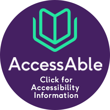 Circular image AccessAble - links through to accessibility information. Purple circle. Green icon of a bool at the top with the words AccessAble in larger white font and then Click for Accessibility Information in smaller white font.