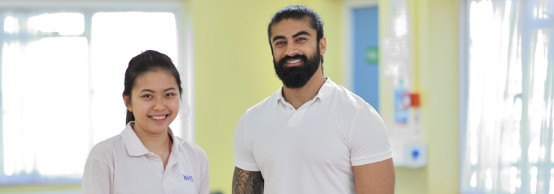 Physiotherapists in uniform, Smiling