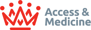 Access and Medicine logo - Red crown on the left, 'Access and Medicine' writing on the right