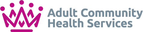 Adult Community Health Services (ACHS) logo - dark pink crown on the left, 'Adult Community Health Services' on the right