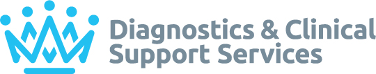 Diagnostics and Clinical Support Services (DCSS) logo - dark pink crown on the left, 'Diagnostics and Clinical Support Services' on the right