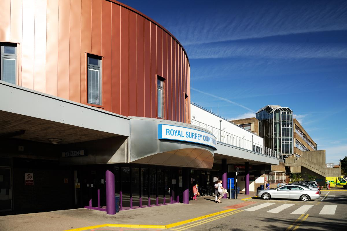 Outside pic of Main entrance for Royal Surrey hospital