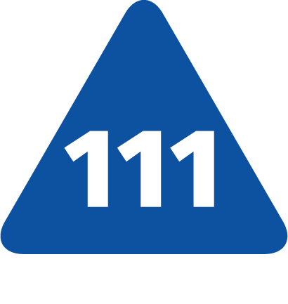 NHS 111 Logo - blue triangle with white 111 in the middle