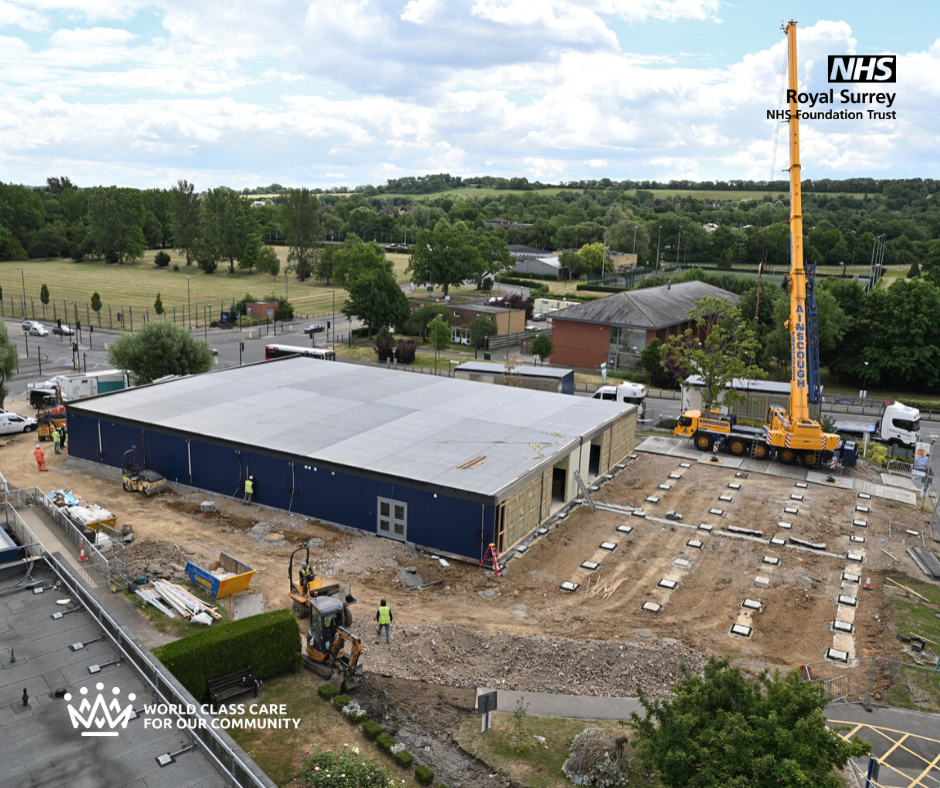 Aerial shot of work being done to build Guildford Ward