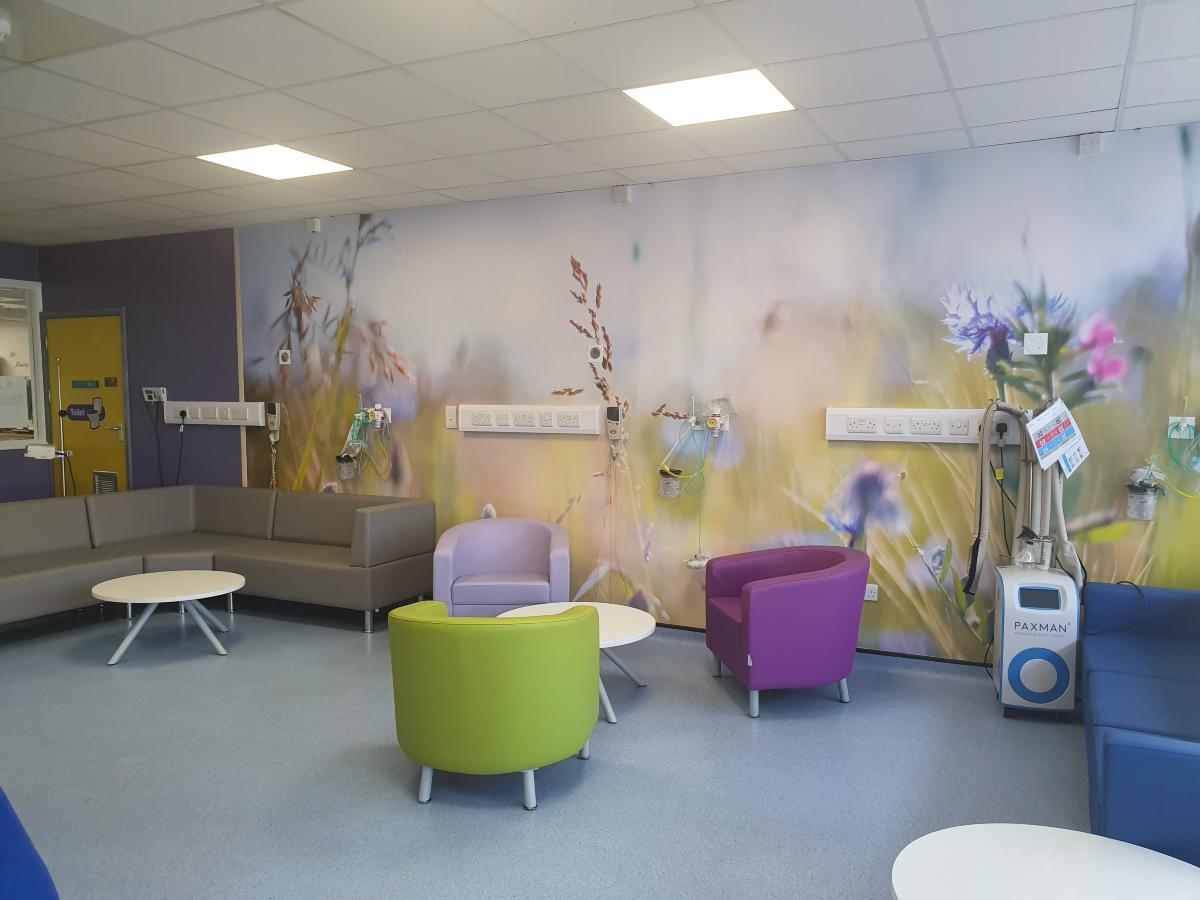 Chemotherapy Unit new lounge - comfy colourful chairs, pic of field and flowers on wall