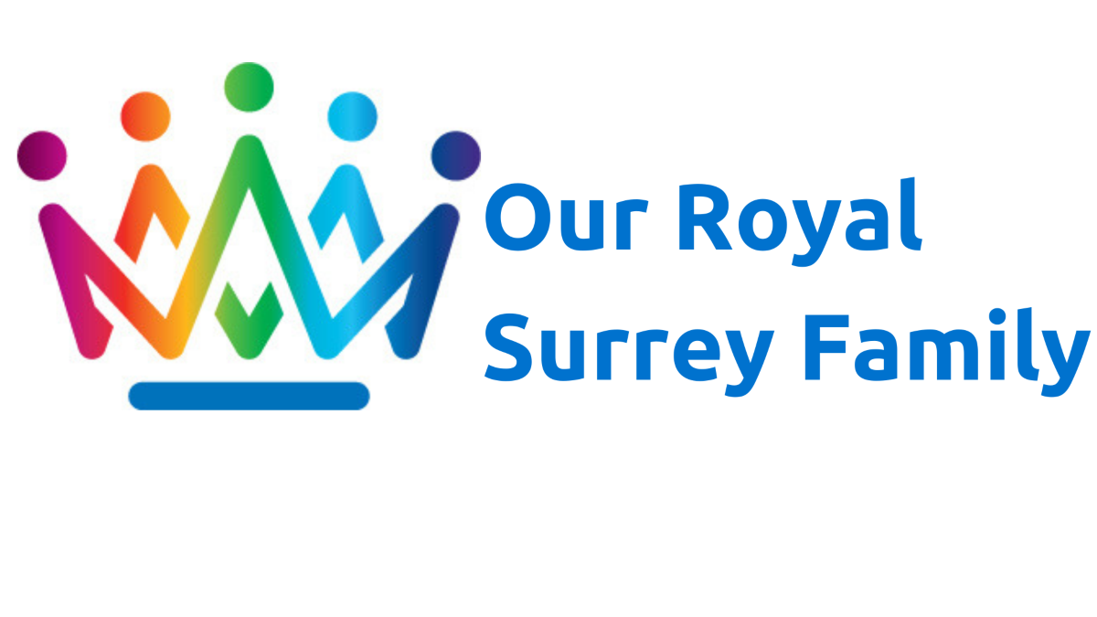 Our Royal Surrey Family logo - multi-coloured crown followed by Our Royal Surrey Family