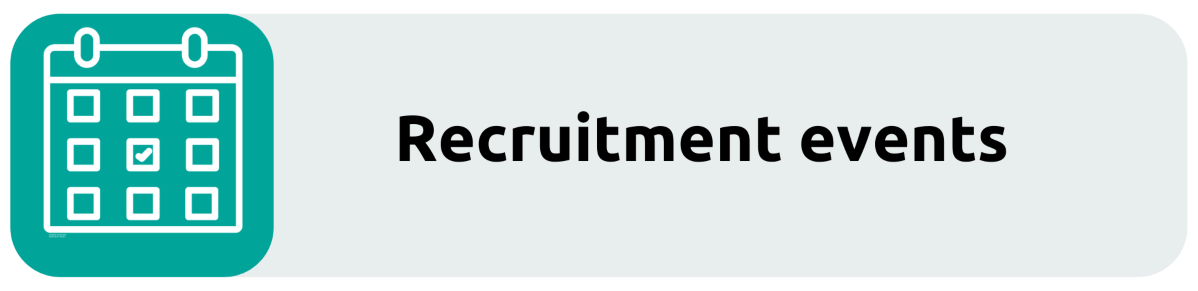 Recruitment events recruitment button. Links through to the recruitment events page