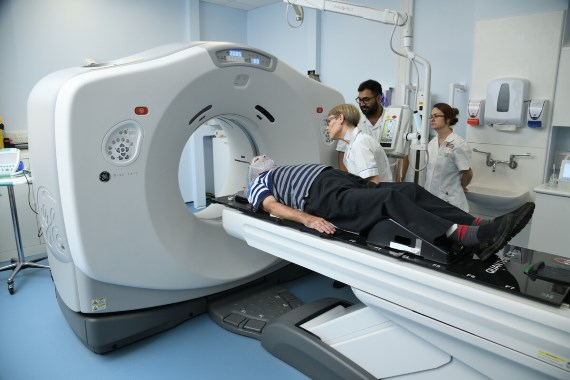 Radiologists treating a patient in the Linear Accelerator machine