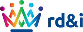 Research, Development and Innovation logo - Multi-coloured crown on the right, 'rd&i' in deep purple on the left