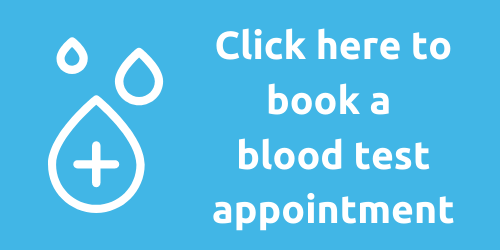 Blood Test online booking button pic. Links through to the booking page for appointments.