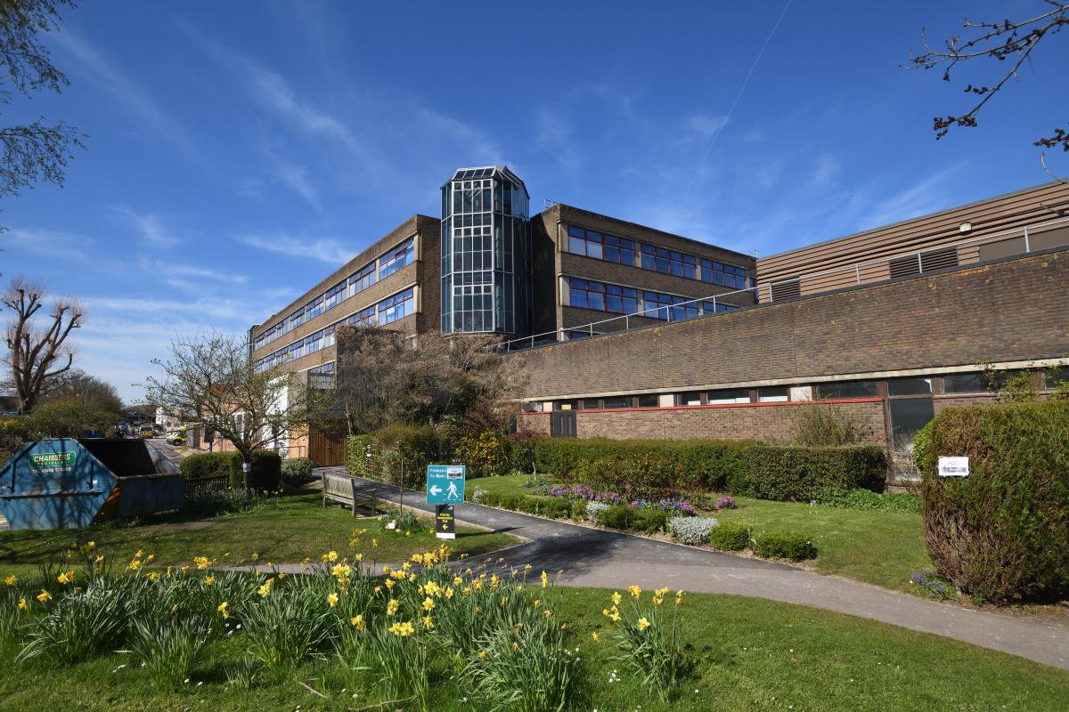Outside Royal Surrey Hospital