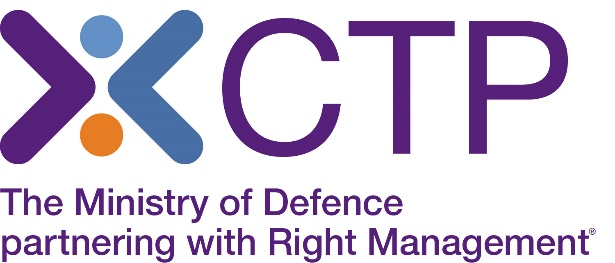 The Career Transition Partnership (CTP) is the Ministry of Defence working with Right Management.