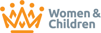 Women and Children logo - yellow crown on the left, 'Women and Children' on the right