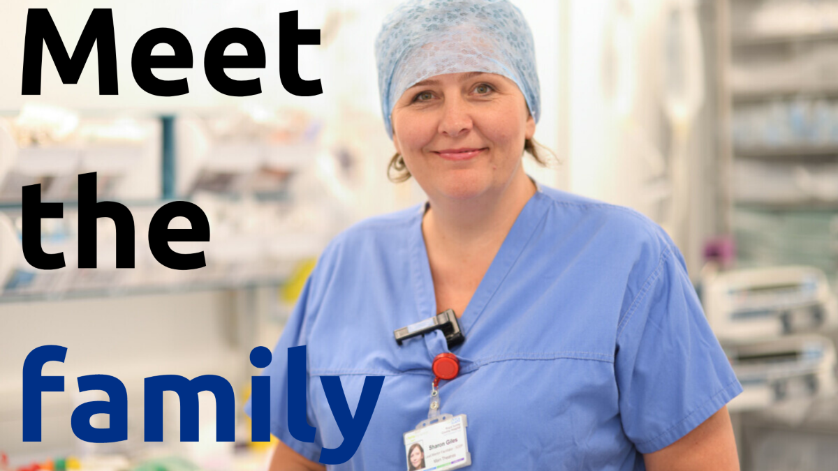 a lady in scrubs with the text 'meet the family'